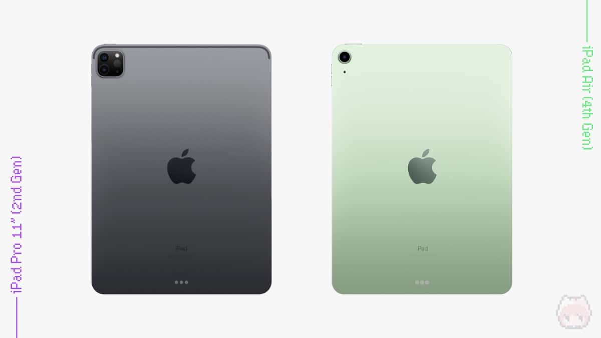 iPad Pro 11インチ(第2世代・2020)・iPad Air(第4世代・2020)のバックビュー比較