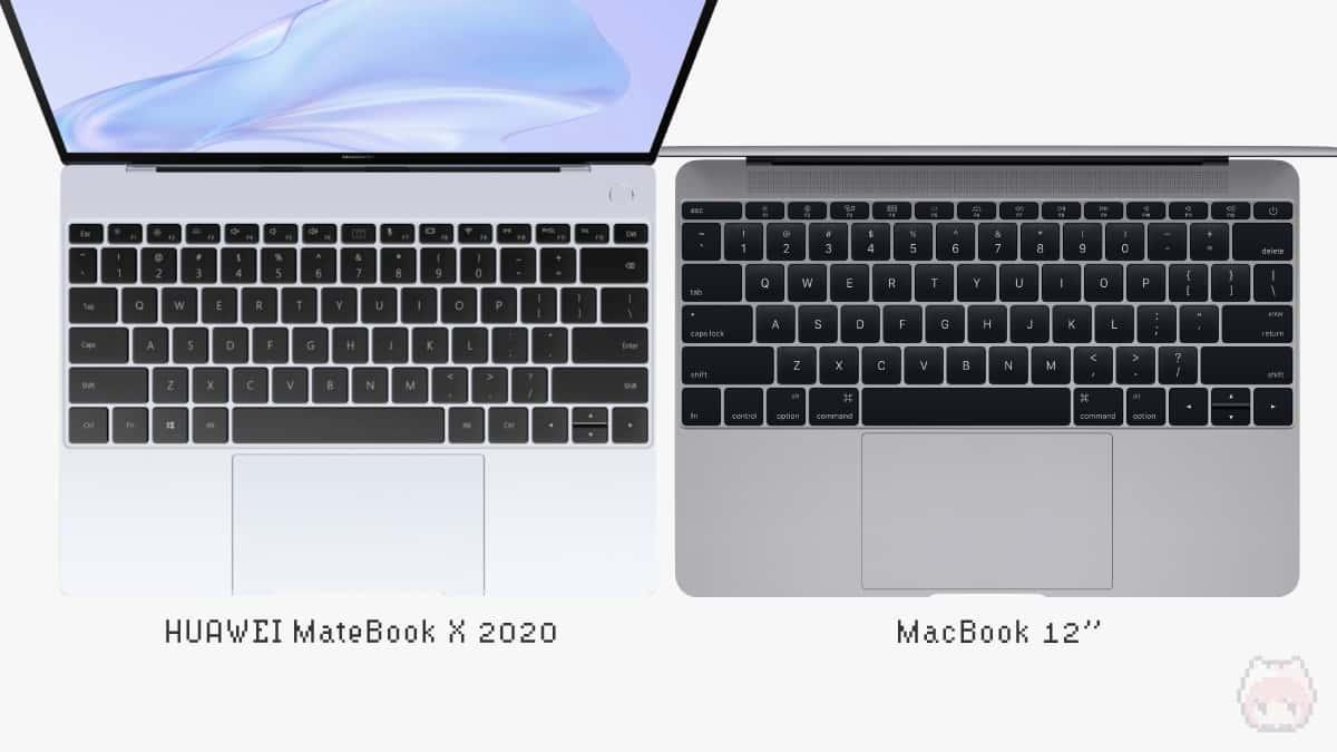 左:HUAWEI MateBook X 2020|右:MacBook 12インチ