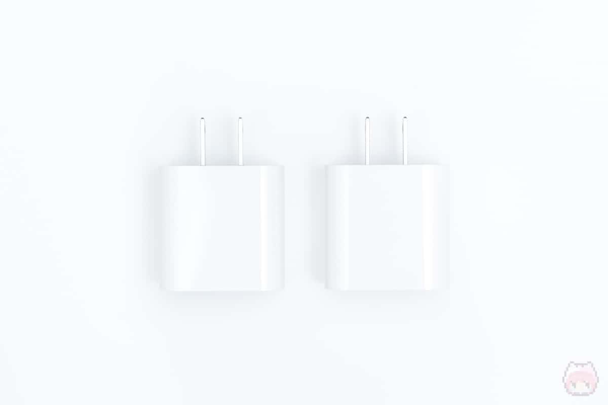 左:20W USB-C電源アダプタ|右:18W USB-C電源アダプタ